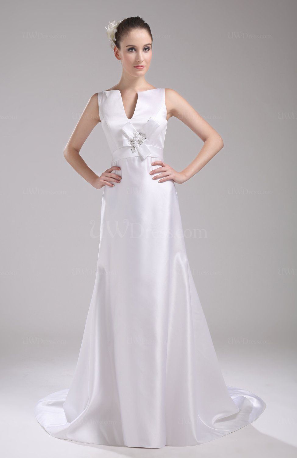 White Elegant Hall V Neck Sleeveless Zip Up Satin Bridal