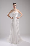 Simple Outdoor Sheath Strapless Sleeveless Zip up Court Train Bridal Gowns