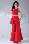 Classic Sheath One Shoulder Sleeveless Taffeta Ruching Homecoming Dresses