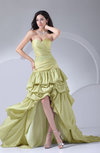 Glamorous A-line Zip up Taffeta Hi-Lo Ruching Evening Dresses