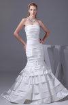 Modest Outdoor Trumpet Strapless Sleeveless Satin Court Train Bridal Gowns