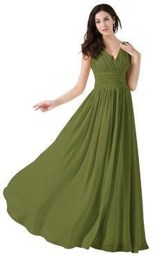 50c0020c276 Olive Green Elegant A-line V-neck Sleeveless Floor Length Ruching Party  Dresses