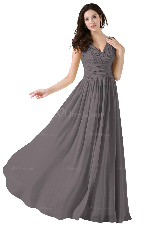 2163f1b748f0 Ridge Grey Elegant A-line V-neck Sleeveless Floor Length Ruching Party  Dresses (Style D02487)