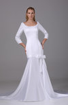 Sexy Hall Scoop 3/4 Length Sleeve Zipper Chapel Train Bow Bridal Gowns
