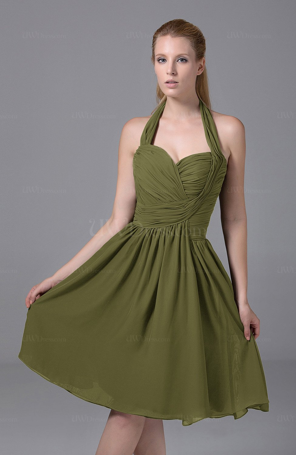 b40180957a9 Olive Green Modest Halter Sleeveless Chiffon Knee Length Ruching Party  Dresses (Style D43227)