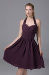 Modest Halter Sleeveless Chiffon Knee Length Ruching Party Dresses