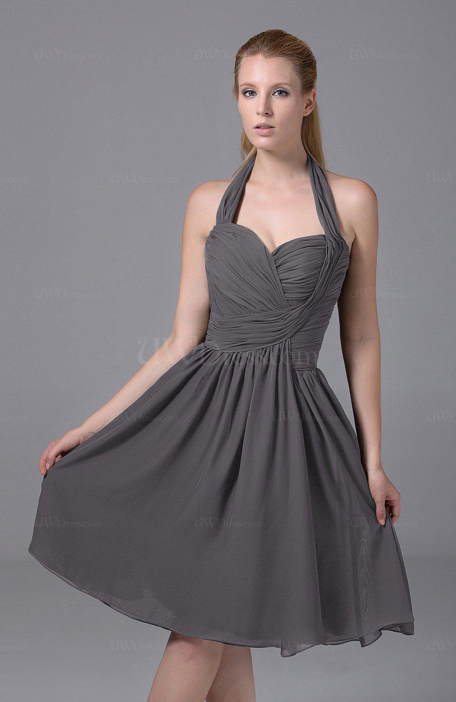 6d566bf3ea7b Ridge Grey Modest Halter Sleeveless Chiffon Knee Length Ruching Party  Dresses (Style D43227)