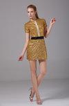 Elegant Column Short Sleeve Zipper Short Sequin Graduation Dresses
