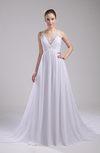 Traditional Church Sleeveless Zipper Chiffon Chapel Train Ruching Bridal Gowns