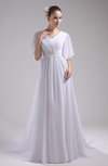 Vintage Church V-neck Half Length Sleeve Zipper Court Train Beaded Bridal Gowns