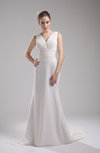 Modest Hall V-neck Sleeveless Court Train Appliques Bridal Gowns