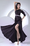 Elegant Column 3/4 Length Sleeve Half Backless Silk Like Satin Ruching Evening Dresses