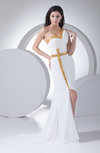 Modern Sheath Sleeveless Chiffon Court Train Split-Front Prom Dresses