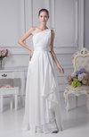 Elegant Church Asymmetric Neckline Sleeveless Zipper Floor Length Ruching Bridal Gowns