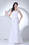 Elegant Hall Column Zipper Satin Sweep Train Bridal Gowns