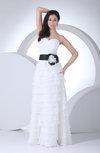 Cute Destination A-line Sweetheart Sleeveless Floor Length Ribbon Bridal Gowns