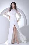 Elegant Outdoor Sheath Jewel Long Sleeve Chiffon Sweep Train Bridal Gowns