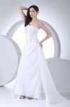 Elegant Hall A-line Sheer Sleeveless Chiffon Brush Train Bridal Gowns