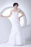 Sexy Church A-line Sheer Sleeveless Zipper Taffeta Bridal Gowns