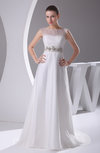 Elegant Hall A-line Illusion Sweep Train Beaded Bridal Gowns
