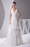 Modest Outdoor A-line V-neck Sleeveless Zipper Pleated Bridal Gowns