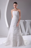 Elegant Outdoor A-line Strapless Backless Organza Court Train Bridal Gowns