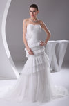 Elegant Outdoor Sweetheart Sleeveless Zip up Tiered Bridal Gowns