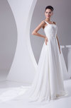 Modest Church Sleeveless Backless Chiffon Ruching Bridal Gowns