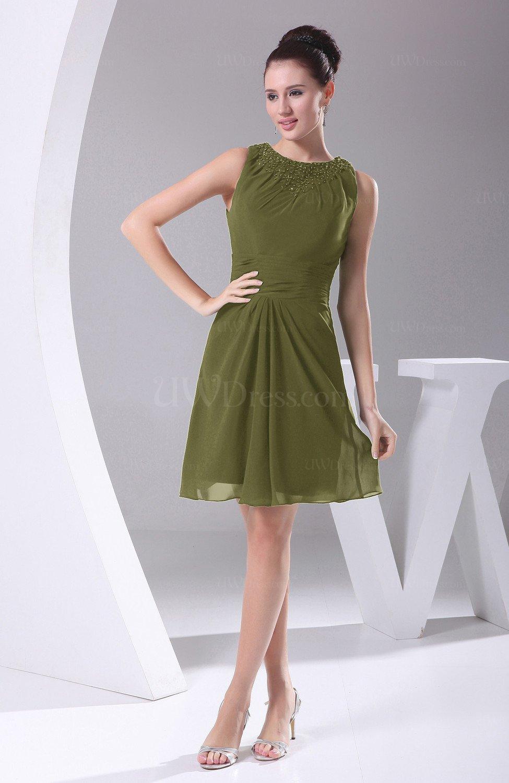 bdb4693b7c8 Olive Green Modest A-line Bateau Sleeveless Chiffon Party Dresses (Style  D90946)