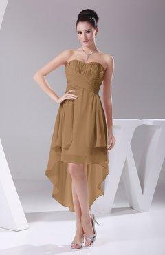 a10f20d9e6ad Indian Tan Informal A-line Sweetheart Chiffon Ruching Bridesmaid Dresses