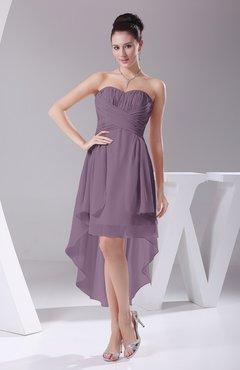 Mauve Informal A Line Sweetheart Chiffon Ruching Bridesmaid Dresses