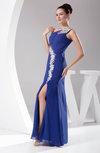 Sexy Asymmetric Neckline Sleeveless Chiffon Floor Length Split-Front Prom Dresses