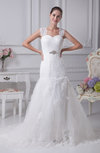 Elegant Church Fit-n-Flare Thick Straps Sleeveless Court Train Bridal Gowns