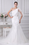 Glamorous Church Fit-n-Flare One Shoulder Sleeveless Appliques Bridal Gowns