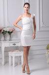 Modest Sheath Backless Silk Like Satin Short Beaded Prom Dresses
