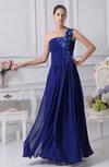 Romantic Column Asymmetric Neckline Chiffon Floor Length Appliques Prom Dresses
