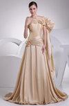 Cute Garden A-line One Shoulder Zipper Taffeta Flower Bridal Gowns