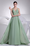 Sexy A-line V-neck Chiffon Sweep Train Ruching Prom Dresses