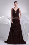 Elegant V-neck Zip up Chiffon Sweep Train Evening Dresses