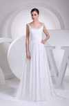 Elegant Outdoor A-line Scoop Sleeveless Chiffon Ruching Bridal Gowns