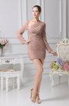 Sexy Sheath One Shoulder Long Sleeve Lace up Chiffon Graduation Dresses