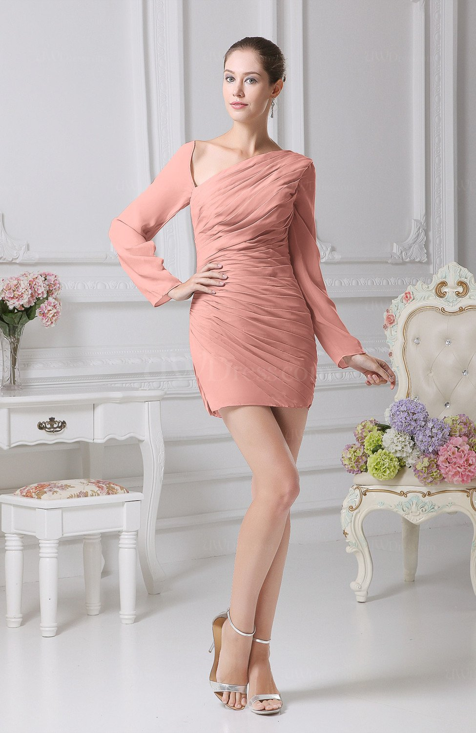 1d6aec3e04991 Peach Sexy Sheath One Shoulder Long Sleeve Lace up Chiffon Graduation  Dresses