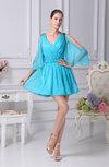 Cute V-neck 3/4 Length Sleeve Short Club Dresses