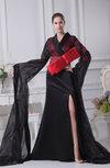 Modern Column V-neck Long Sleeve Zipper Evening Dresses