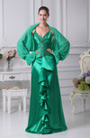 Modern Sheath Long Sleeve Backless Silk Like Satin Evening Dresses