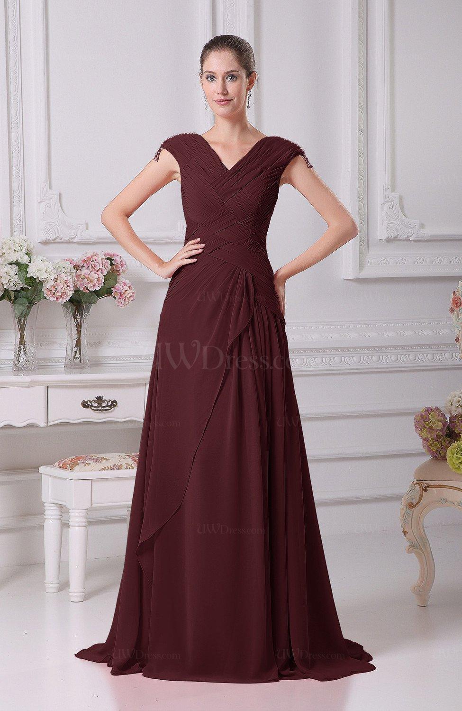 ffe36b5f85f Burgundy Elegant A-line V-neck Short Sleeve Chiffon Floor Length Prom  Dresses (Style D17522)