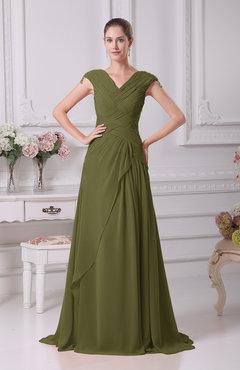 c3b55da22a23 Olive Green Elegant A-line V-neck Short Sleeve Chiffon Floor Length Prom  Dresses