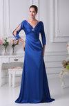 Simple Sheath V-neck Floor Length Ruffles Prom Dresses