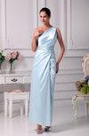 Plain Column One Shoulder Sleeveless Zip up Ankle Length Prom Dresses