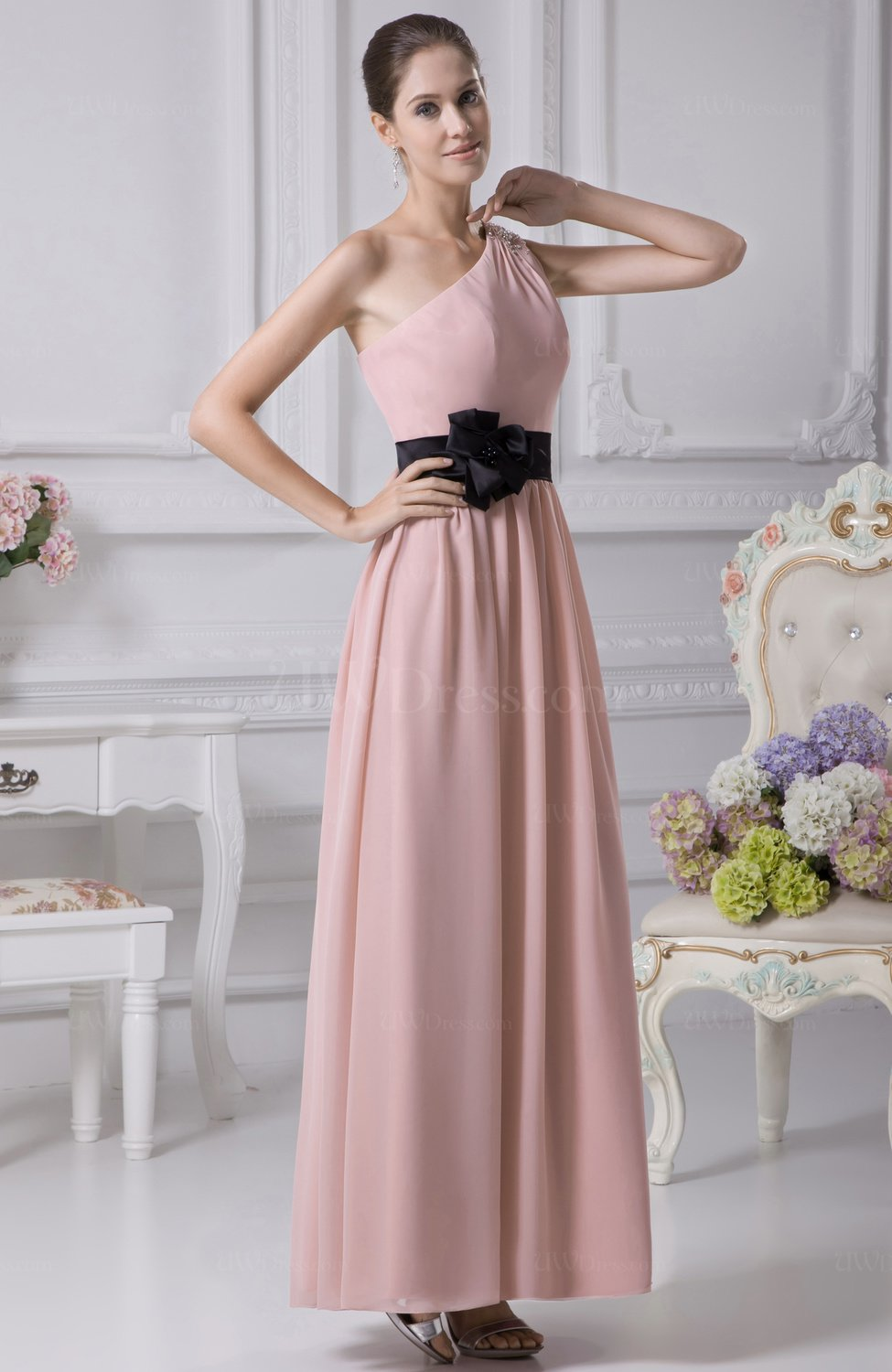 6fd6c067eb91 Cute Column Asymmetric Neckline Sleeveless Ribbon Bridesmaid Dresses